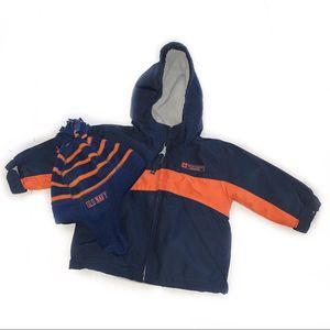 Old Navy Navy Blue and Orange Winter Coat and Hat